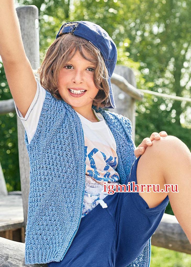 Для мальчика 6-11 лет. Жилет цвета индиго на застежке-молнии. Вязание спицами