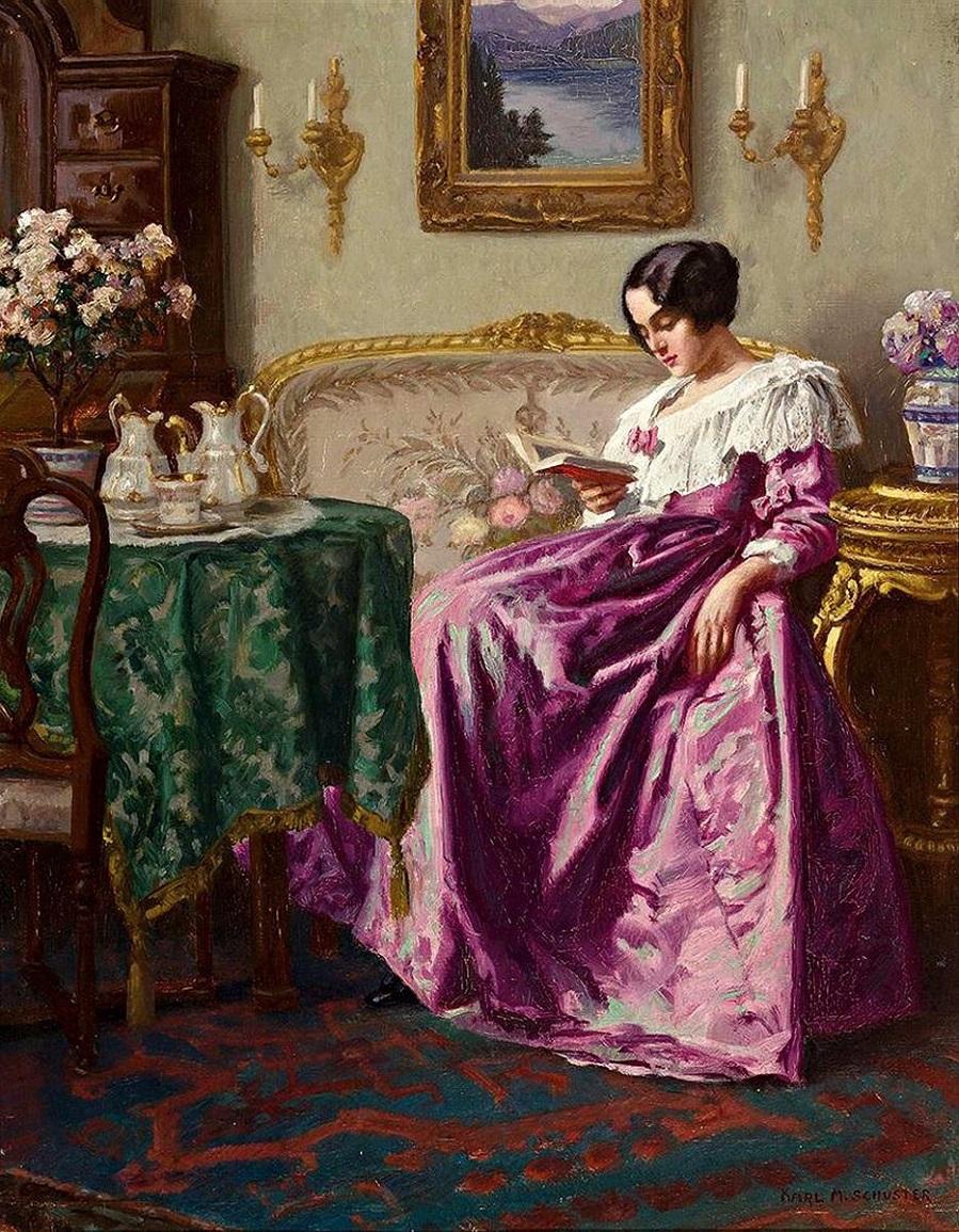 Lesende in einem feinen Salon