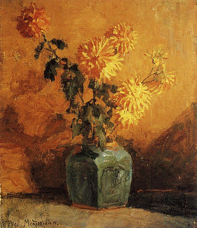 Пит Мондриан. Желтые хризантемы в вазе.