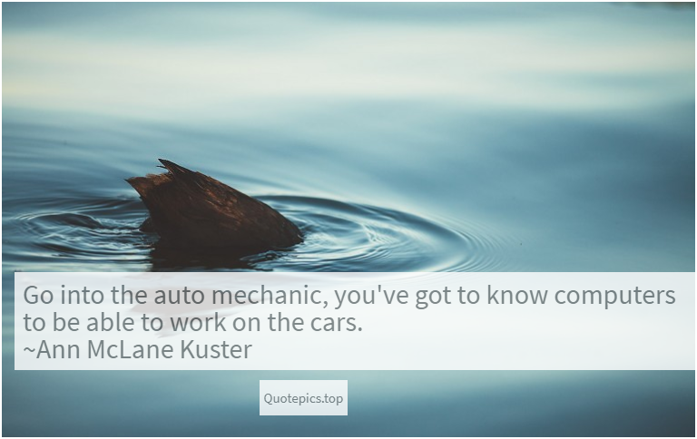 Go into the auto mechanic, you've got to know computers to be able to work on the cars. ~Ann McLane Kuster