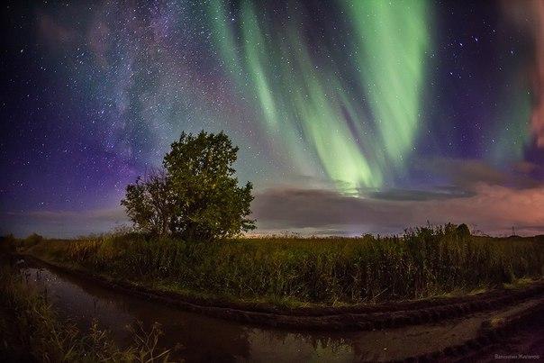 Чудесное северное сияние на фоне млечного пути над городом Апатиты, Мурманская область, Россия. Вечер 22 сентября 2017.