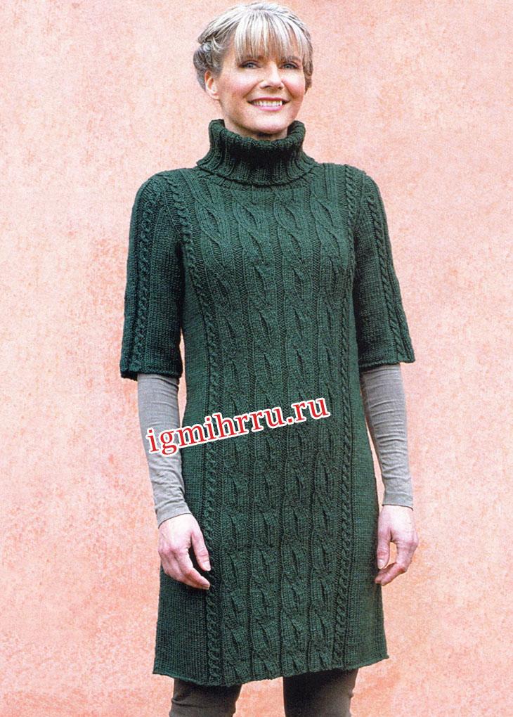 Шерстяное платье изумрудного цвета с косами. Вязание спицами