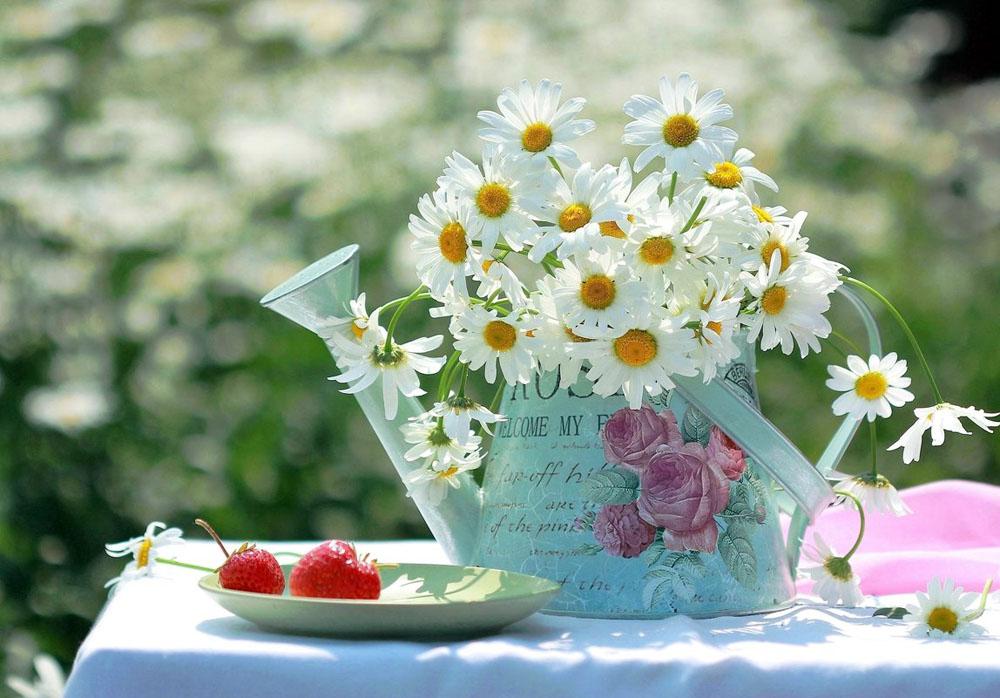 Открытки доброе утро лето цветы