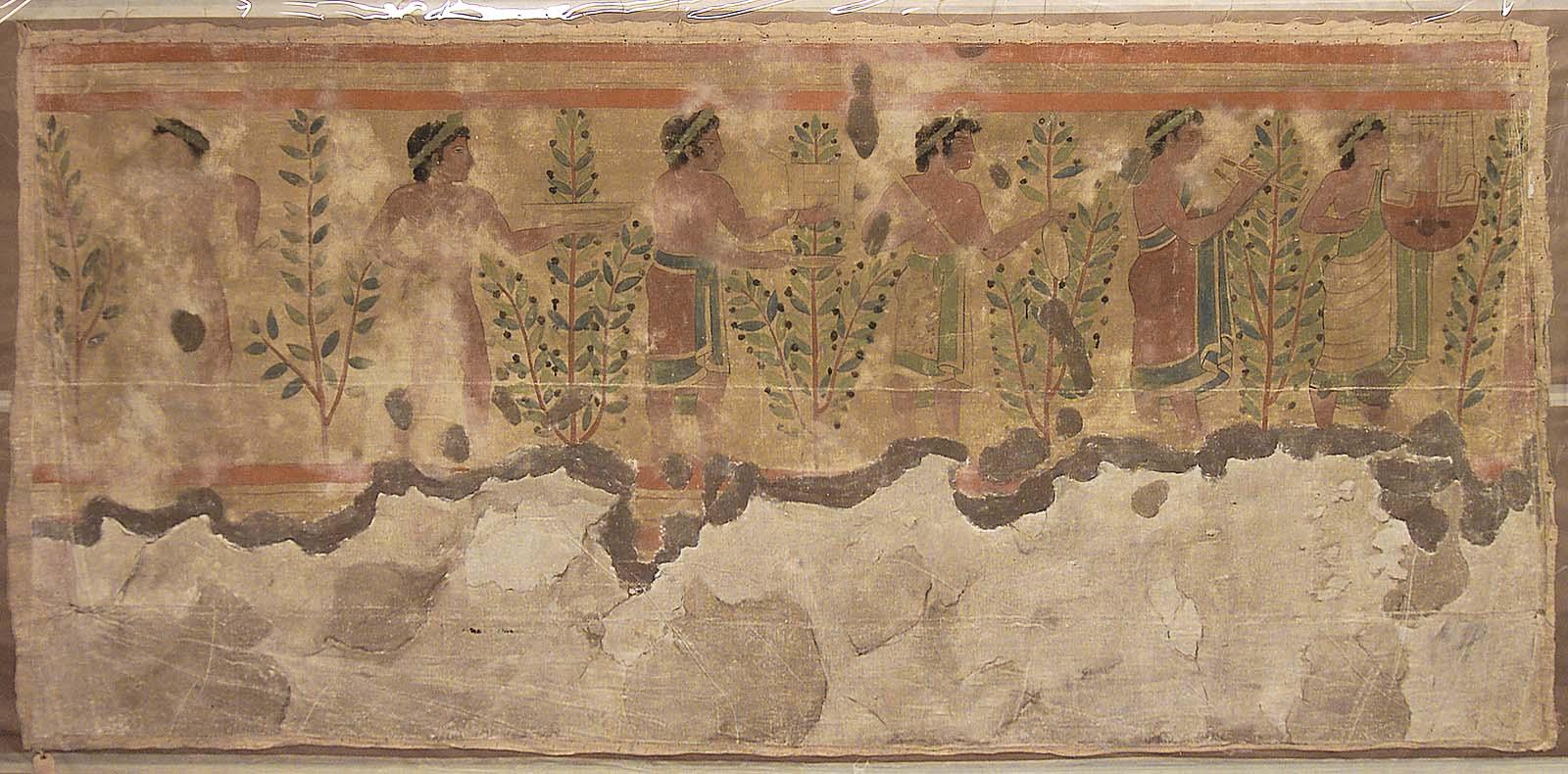 Гробница Леопардов. Изображение на левой стене