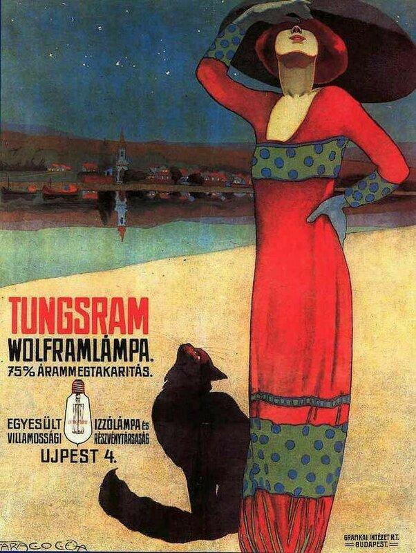 Tungsram Wolframlampa ad.Poster for Tungsram Light Bulbs c. 1910 - By Geza Farago.
