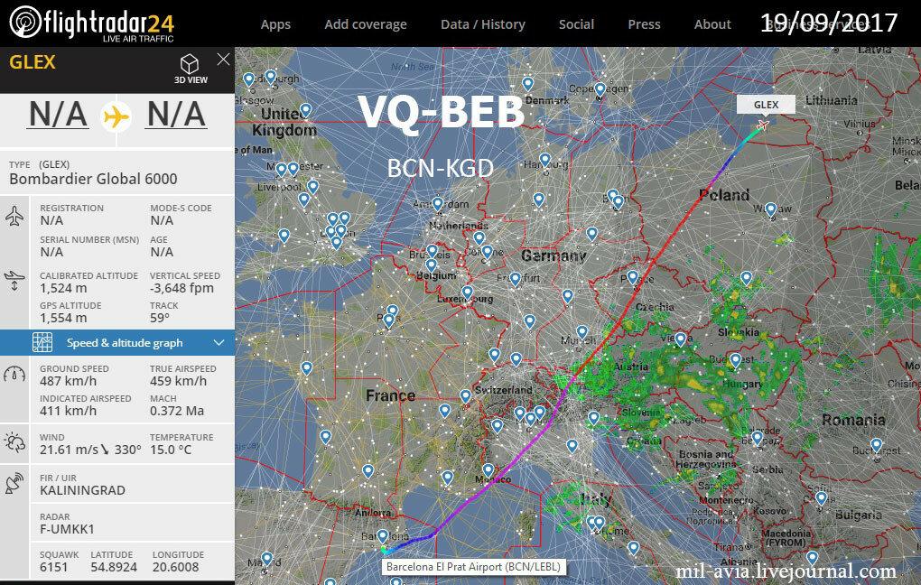 VQ-BEB из Барселоны в Калининград