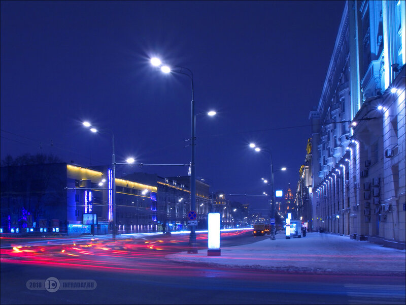 Ночной город Москва, штатив, выдержка 40 секунд. Night city Moscow, tripod, exposure 40 sec.
