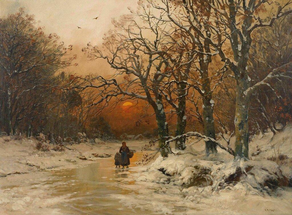 Закат над замерзшим ручьем (Sonnenuntergang am vereisten Bach)_74 х 100_х.,м._Частное собрание.jpg