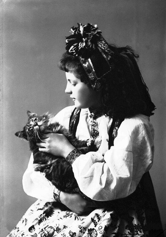 Portrett av kvinne i drakt og skaut, tatt i fotografens studio. Hun sitter med venstre side vendt mot fotografen og koser med en katt hun holder pa fanget. 1895-1908.
