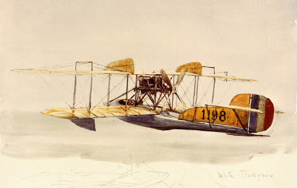 """Wyllie William Lionel - """"White-Thompson"""". The White & Thompson No. 3 tractor biplane flying boat, serial 1198, was built at Bognor Regis and completed in February 1915. She served at Dover and Calshot and was deleted from service on 24 October 1916. (1916)"""