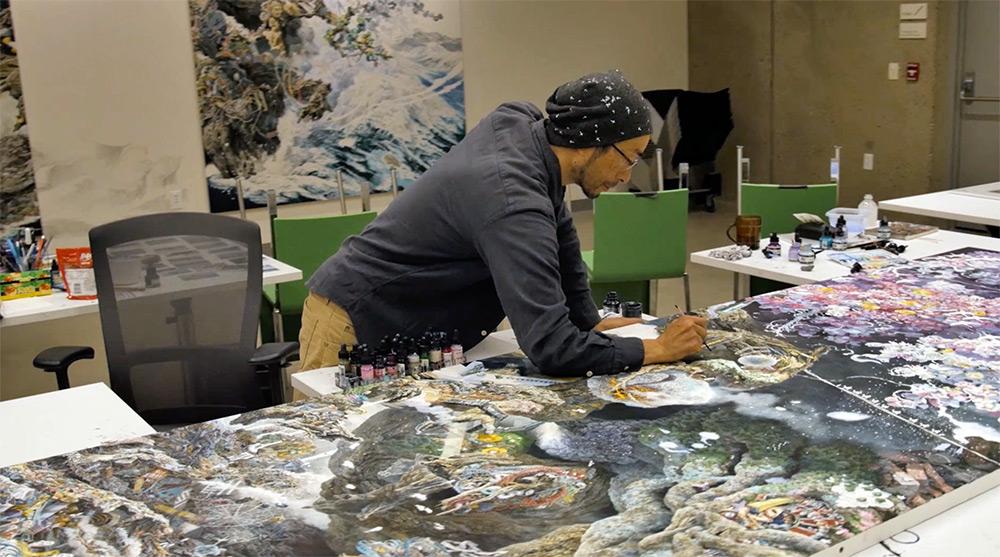 Manabu Ikeda at work, still from Clayton Adams.