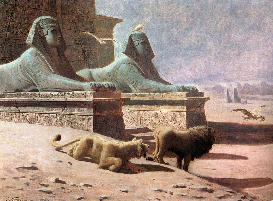 Lions guarding an Egyptian tomb , 1893
