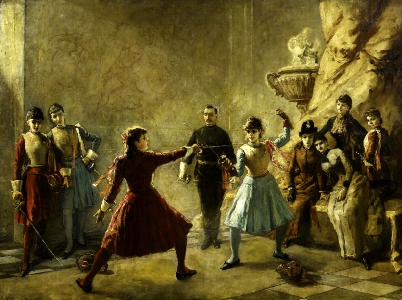 The ladies' fencing lesson , 1885