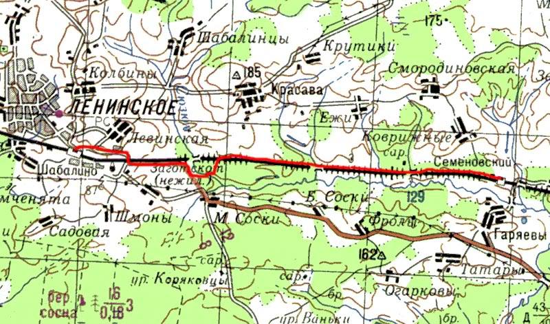 Карта пути от Шабалино до Семёновского