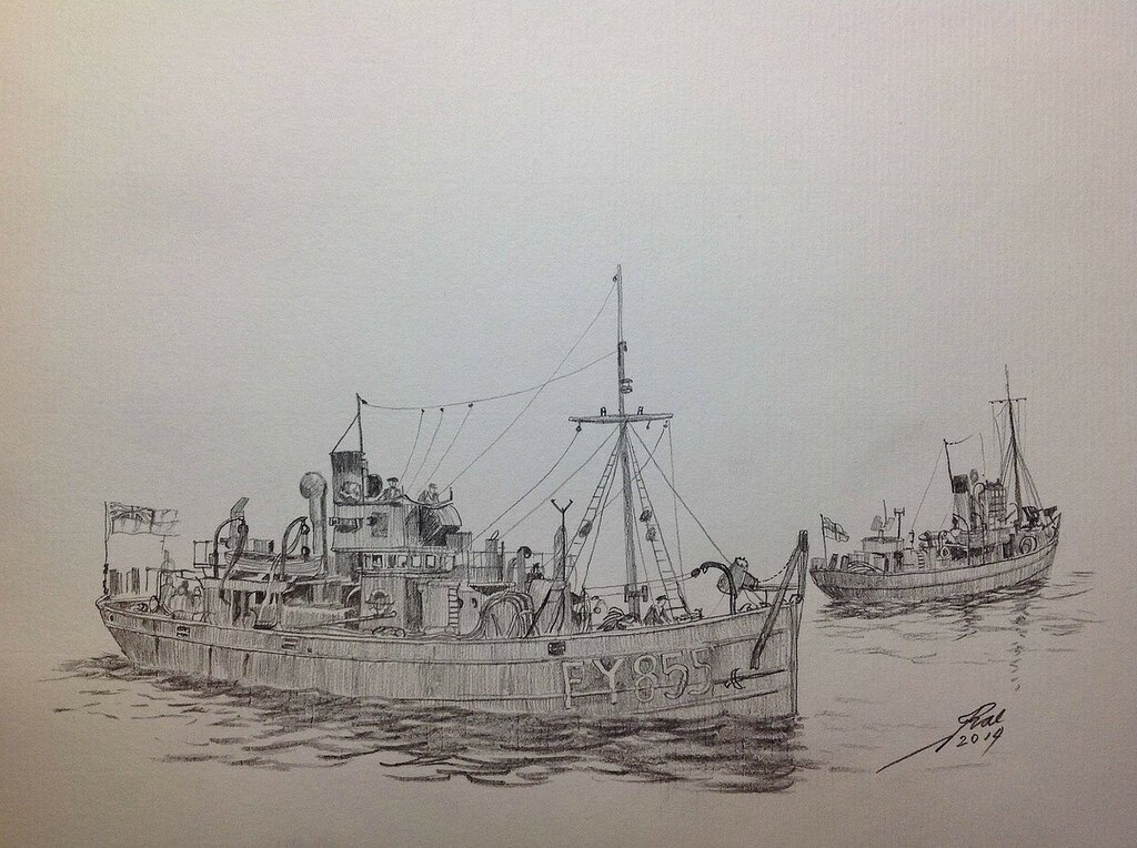 Pencil sketch Trawler 'United Boys and 'Bervie Braes'.
