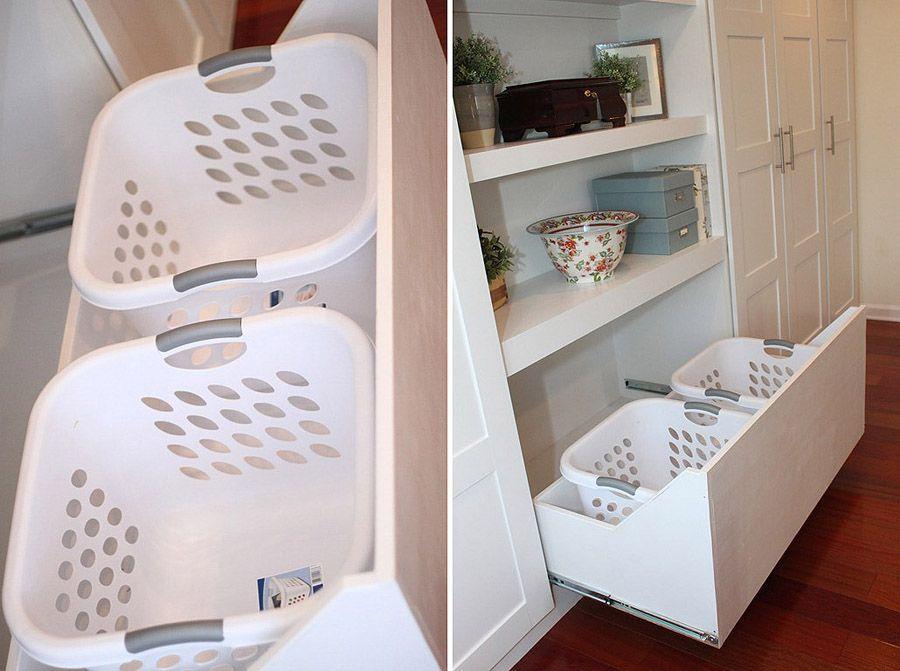 1. Спрячьте корзины для грязного белья в глубоких ящиках комода.