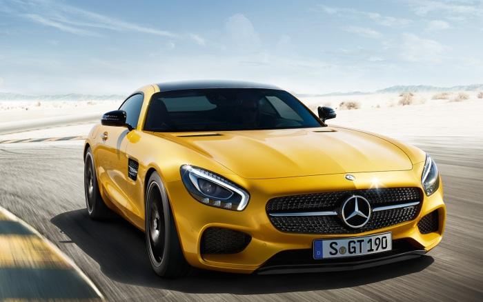 Mercedes-AMG GT в желтом цвете. | Фото: topgir.com.ua. Спортивный автомобиль Mercedes-AMG GT уже сам