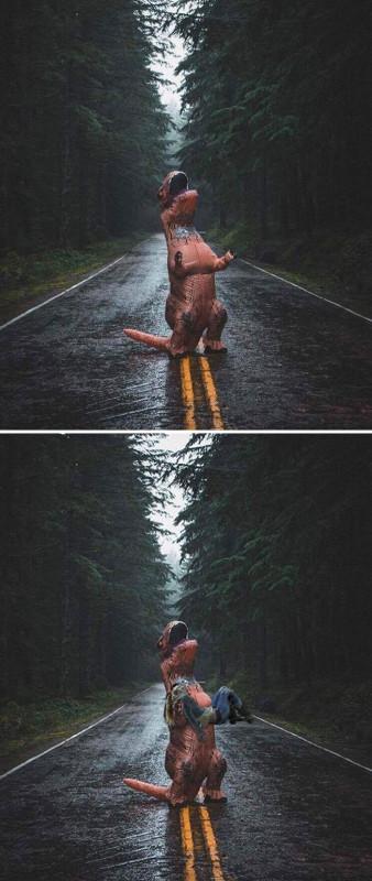 Просто человек в костюме тираннозавра под дождем.
