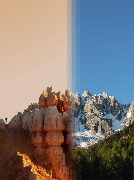 Брайс-Каньон в США и Доломиты в Италии.
