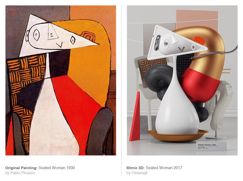 Digital Artist Omar Aqil Interprets Picasso Paintings as Sleek Modern Sculptures (10 pics)