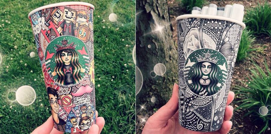 Starbucks Cups turned into Graphical Art (8 pics)
