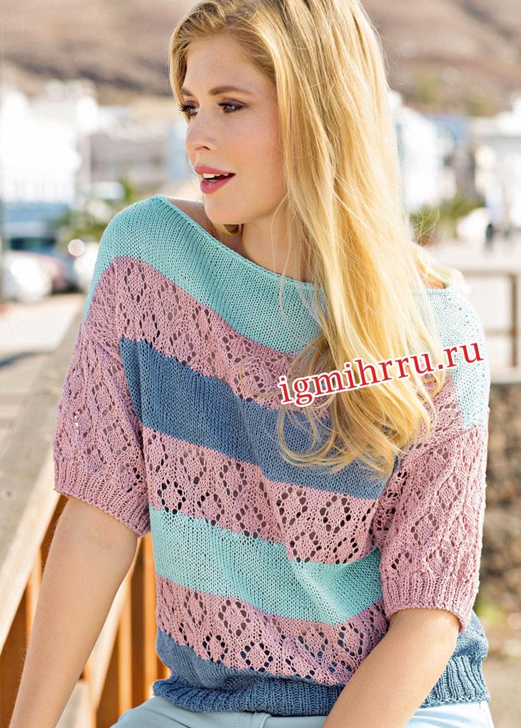 Пуловер в широкую полоску, с сочетанием узоров и цветов. Вязание спицами