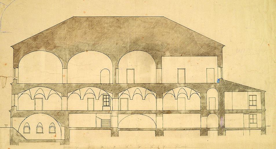 Палаты Троекурова. Продольный разрез. Обмерный чертеж ЦГРМ. Конец 1920-х – начало 1930-х годов.jpg