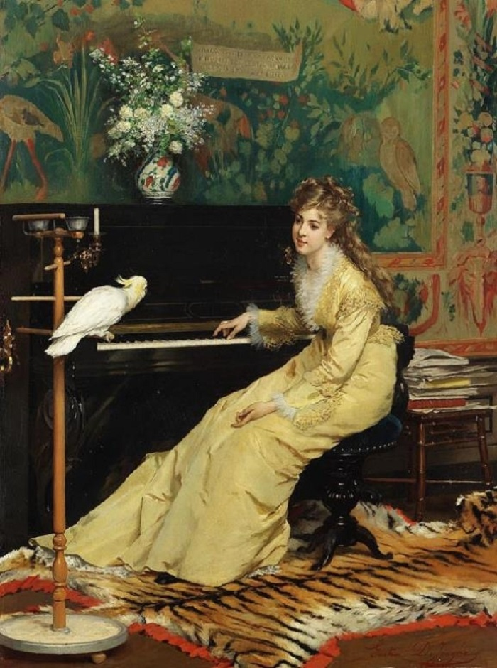Dame am Klavier mit Kakadu, 1870.Jpeg