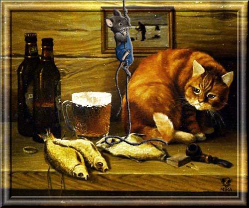 С Днем Пивовара! Кошка и мышка! открытки фото рисунки картинки поздравления