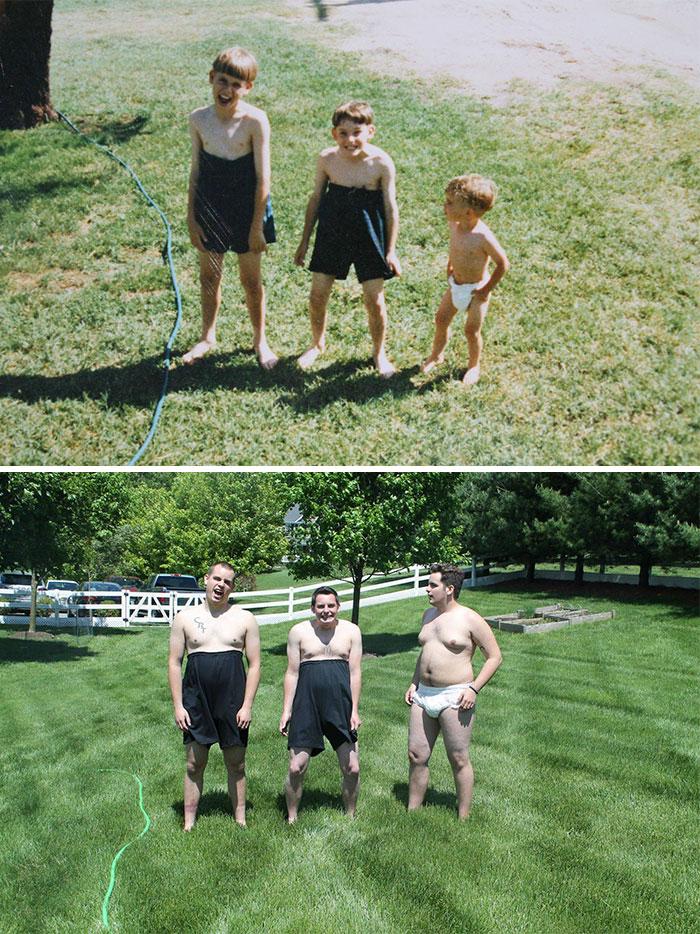 «Решили воспроизвести с братьями детское фото 18 лет спустя — кажется, наша мама никогда еще так не