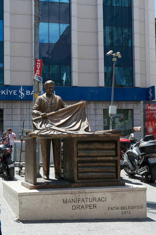 Monument to Draper or Craftsmen in Istanbul, Turkey. Statue was build in 2012 by municipality of Fatih