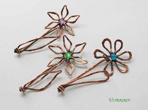 Броши цветы (4) из медной проволоки