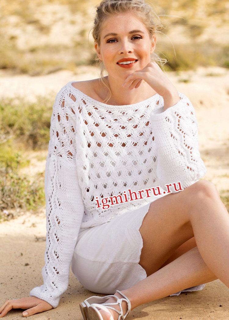 Белый пуловер с узором из вытянутых петель. Вязание спицами