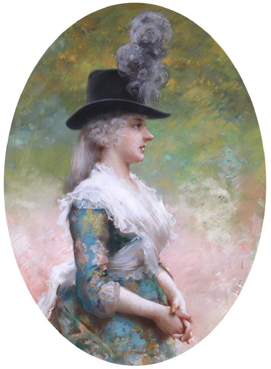 Portrait of a lady in a feathered hat.Jpeg