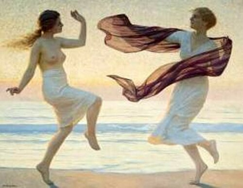 Max Nonnenbruch 1857 - 1922 Танцы молодых женщин на пляже
