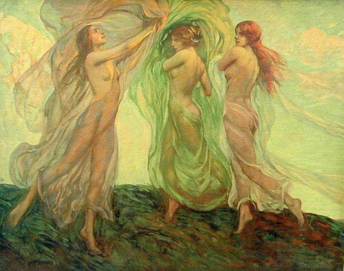 Louis Frederick Bernecker (1876 – 1937, American)  - Dancing Nymphs – Three Dancers