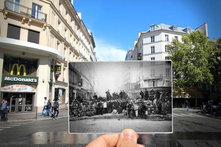 Улица Фобур дю Тампль сейчас и в 1871 году.