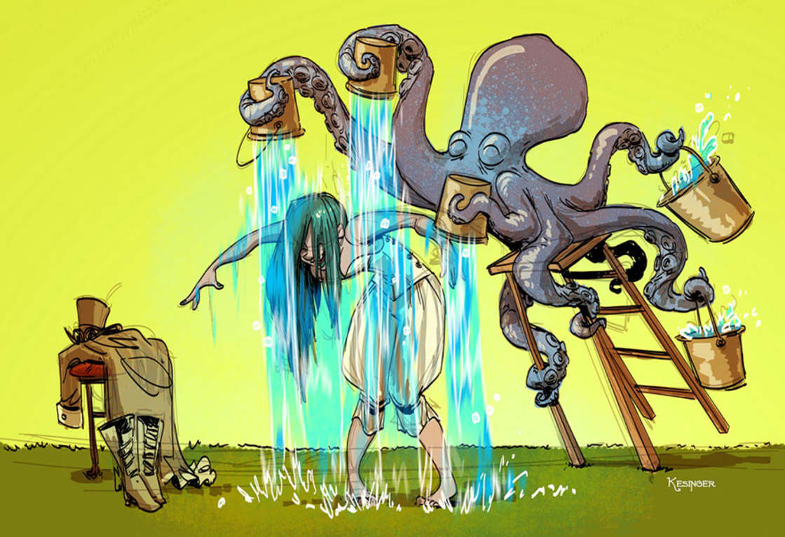 Illustrator at Disney, he imagines daily life with a tame octopus (28 pics)