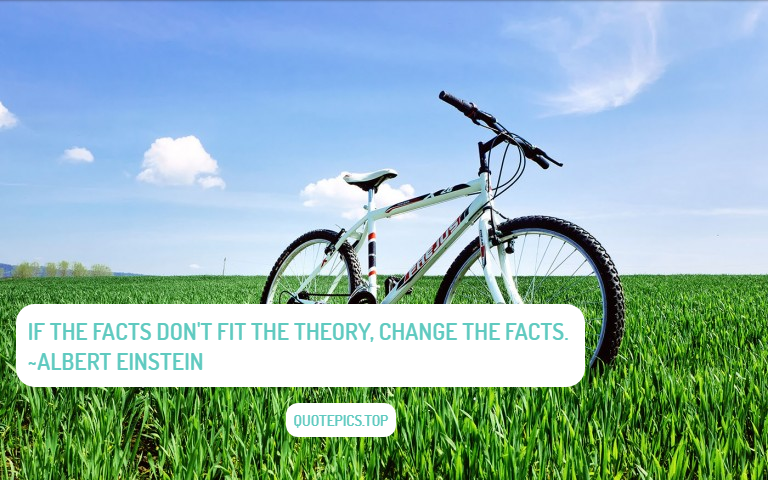 If the facts don't fit the theory, change the facts. ~Albert Einstein