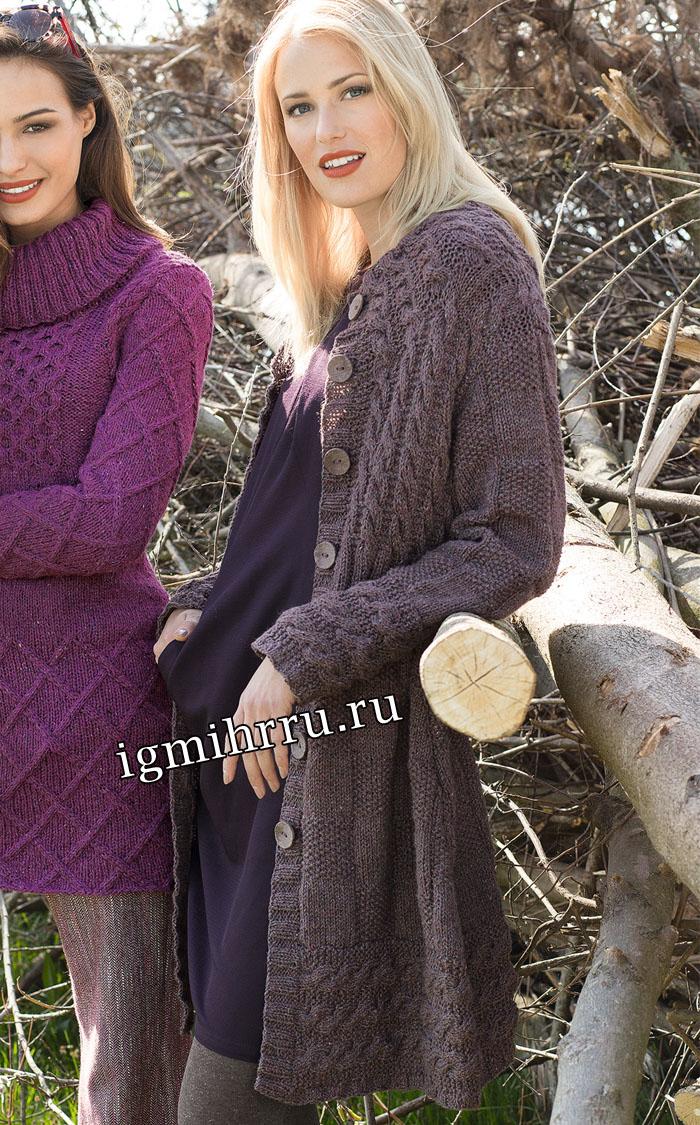 Коричневое твидовое пальто с миксом узоров. Вязание спицами