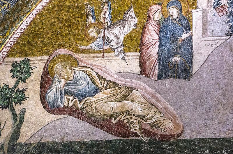 Сон Иосифа. Мозаики и фрески монастыря Хора. Церковь Христа Спасителя в Полях.