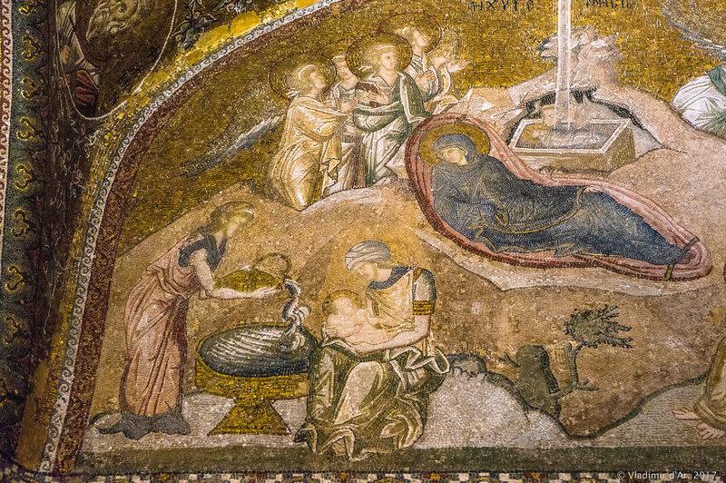 Рождество Христово. Мозаики и фрески монастыря Хора.