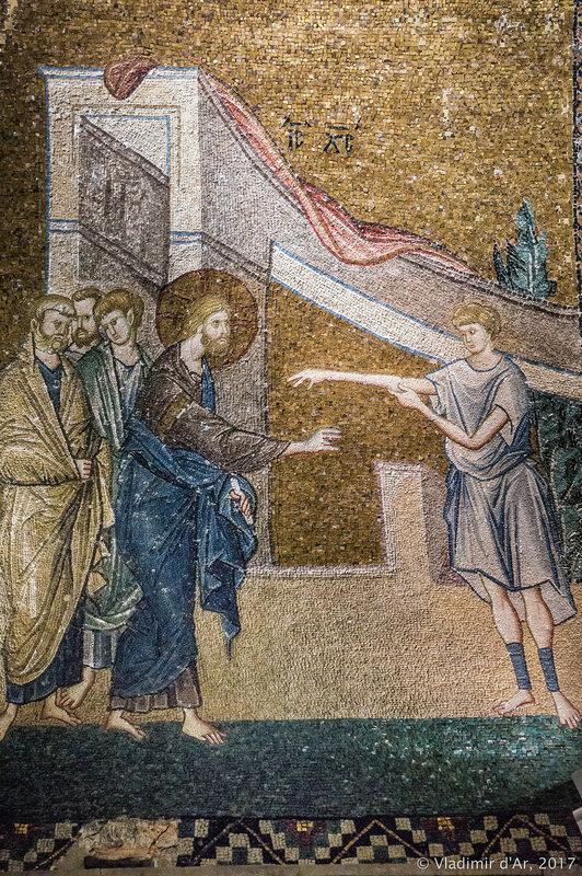Исцеление сухорукого. Мозаики и фрески монастыря Хора. Церковь Христа Спасителя в Полях.