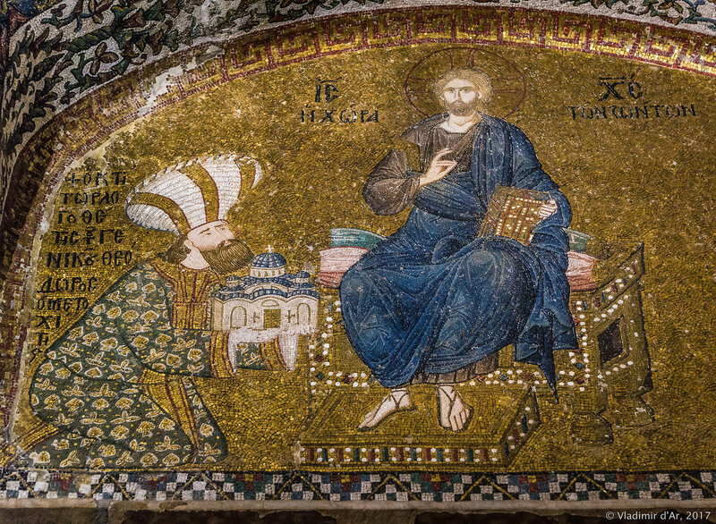 Феодор Метохит прподносит Христу церковь в Хоре. Мозаики и фрески монастыря Хора. Церковь Христа Спасителя в Полях.
