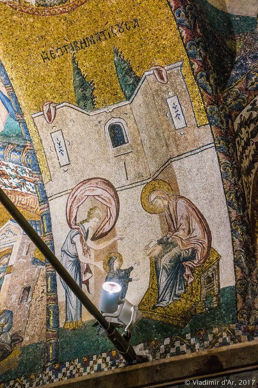 Воспитание Марии при Храме. Мозаики и фрески монастыря Хора.