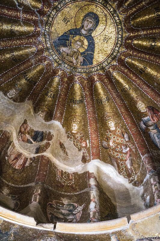 Богоматерь с Младенцем. Шестнадцать царей из дома Давидова и одиннадцать пророков. Мозаики и фрески монастыря Хора.