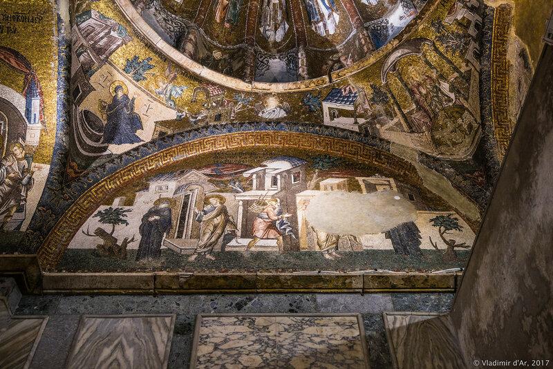 Уход Иосифа на заработки.Упрек Иосифа нашедшего Марию беременной возвратившегося через шесть месяцев. Мозаики и фрески монастыря Хора. Западный люнет первого компартимента.