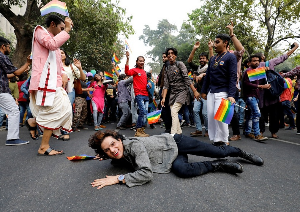 People participate in Queer Pride March, an event promoting gay, lesbian, bisexual and transgender rights, in New Delhi