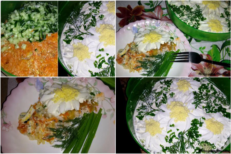 Салат «Ромашковое поле» с рисом и рыбой