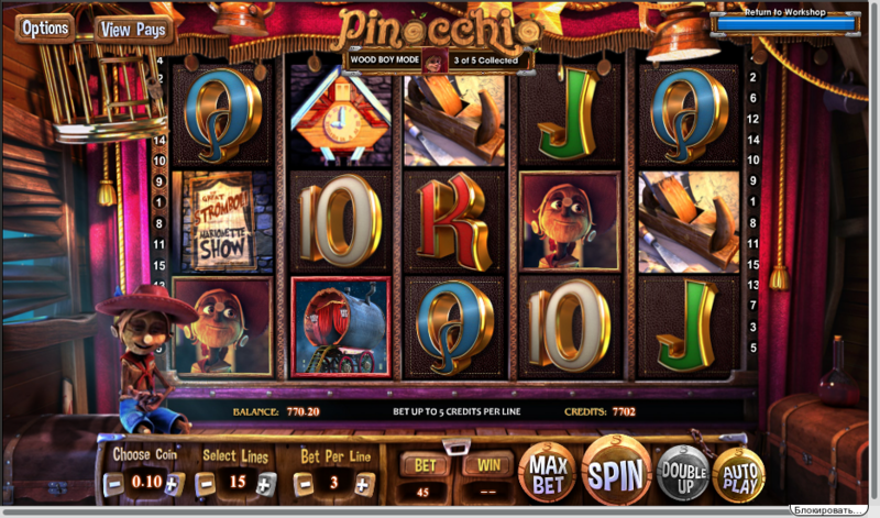 Pinocchio slot the stage mode
